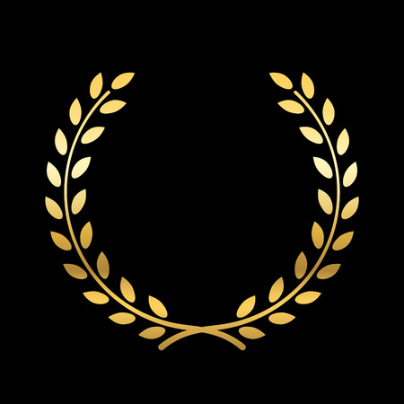elite sport: Gold laurel wreath. Symbol of victory and achievement. Design element for decoration of medal, award, coat of arms or anniversary logo. Golden leaf silhouette on black background. Vector illustration.