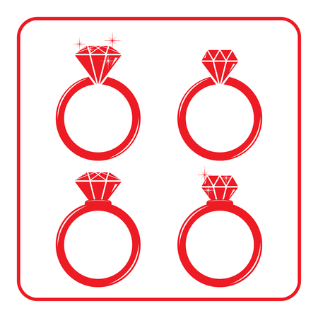 engagement silhouette: Diamond engagement ring icons set. Shiny crystal signs. Red circle silhouette isolated on white background. Flat fashion design element. Symbol engagement, gift, jewel, expensive. Vector Illustration. Illustration