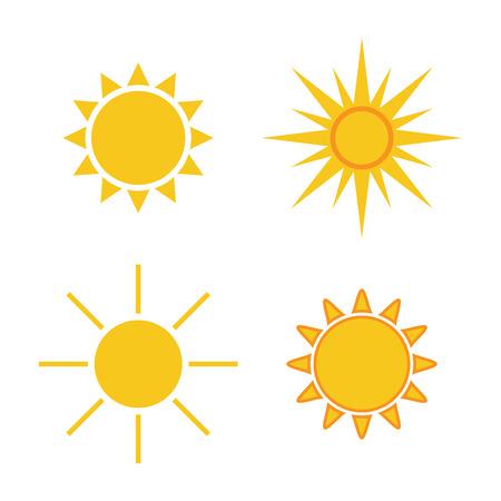 icone Sun Set. luce Collection cartelli gialli con raggio di sole. Elementi di design, isolato su sfondo bianco. Simbolo di alba, di calore, di sole e il tramonto, mattino, la luce del sole. stile piatto. Illustrazione vettoriale.