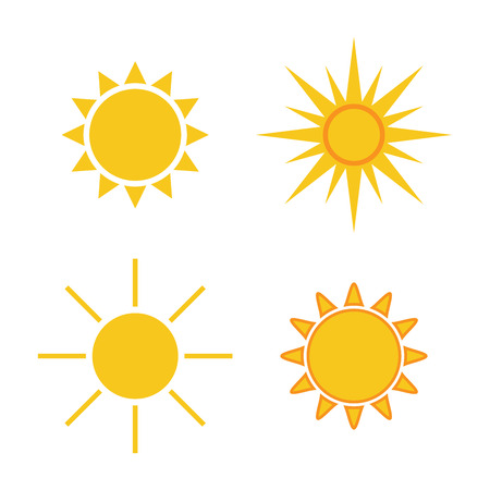 morning sun: Sun icons set. Collection light yellow signs with sunbeam. Design elements, isolated on white background. Symbol of sunrise, heat, sunny and sunset, morning, sunlight. Flat style. Vector Illustration.