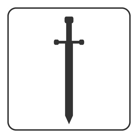templar: Medieval sharp sword icon. Gray silhouette, isolated on white background. Symbol ancient knight, warrior, weapon and victory, battle, templar. Flat style. Military historic design. Vector illustration Illustration