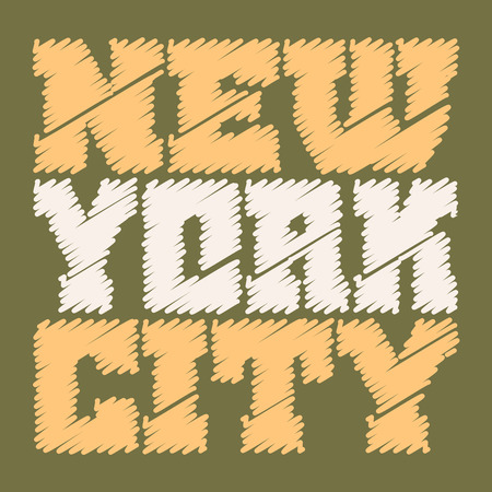 jersey city: T shirt typography graphics New York. Athletic style NYC. Fashion american stylish print for sports wear. Drawn emblem. Template for apparel, card, poster. Symbol of big city Vector illustration