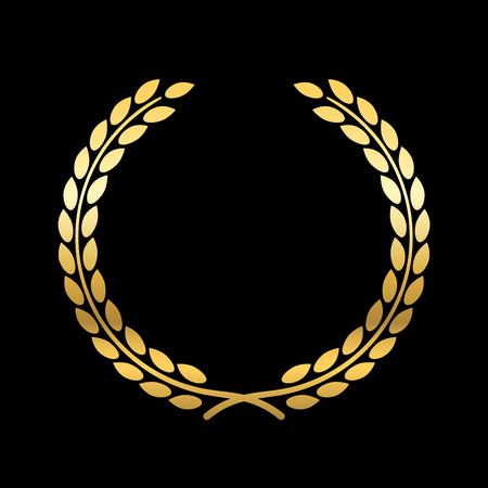 elite sport: Gold laurel wreath. Symbol of victory and achievement. Design element for decoration of medal, award, coat of arms or anniversary . Golden leaf silhouette on black background. Vector illustration. Illustration