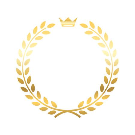 クラウンとゴールドの月桂樹の花輪。黄金葉のエンブレム。ビンテージのデザインは、白い背景で隔離。バナー賞記章のための装飾。スポーツの勝