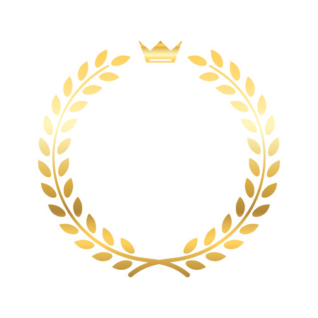 laurel leaf: Gold laurel wreath, with crown. Golden leaf emblem. Vintage design, isolated on white background. Decoration for insignia, banner award. Symbol of triumph, sport victory, trophy. Vector illustration.