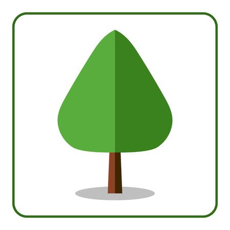 arbol alamo: El roble o el icono del árbol de álamo. signo de diseño plano. De moda hermosa elemento floral, aislado en fondo blanco. silueta del árbol de hoja caduca verde. símbolo de la naturaleza, bosque. Sprites para el juego. ilustración vectorial