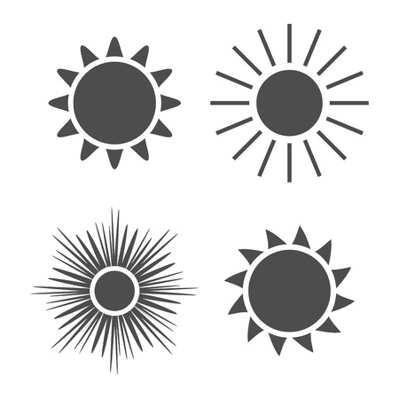 sunbeam: Sun icons set. Collection light gray signs with sunbeam. Design elements, isolated on white background. Symbol of sunrise, heat, sunny and sunset, morning, sunlight. Flat style. Vector Illustration. Illustration