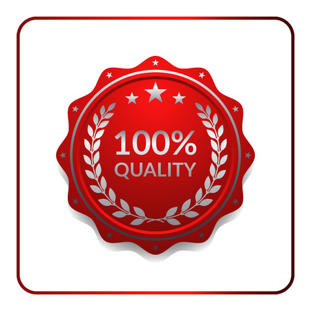 signatory: Seal award red icon. Blank medal with laurel wreath isolated on white background. Design certificate Label emblem. Symbol of assurance, winner, guarantee and best, premium, quality Vector illustration