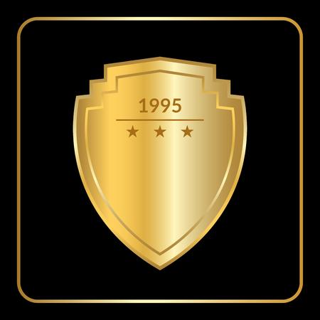 Oro icono del escudo emblema. silueta signo de oro, aislado en fondo negro. Símbolo de trofeo, premio heráldico, la seguridad real. sello heráldico. decoración de diseño del logotipo. estilo plano. ilustración vectorial