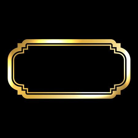 Gold frame. Beautiful simple golden design. Vintage style decorative border, isolated on black background. Deco elegant art object. Empty copy space for decoration, photo, banner. Vector illustration. Illusztráció