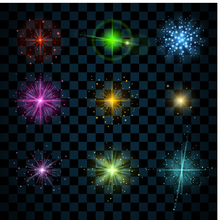 Shine stars with glitters and sparkles icons set. Effect twinkle, glare, scintillation element sign, graphic light. Transparent design elements on dark background. Varied template. Vector illustration Illustration