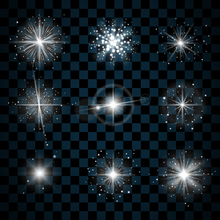 twinkle: Shine stars with glitters and sparkles icons set. Effect twinkle, glare, scintillation element sign, graphic light. Transparent design elements on dark background. Varied template. Vector illustration Illustration
