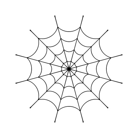 spidery: Spider web clip. Black cobweb element, isolated on white background. Spiderweb silhouette graphic. Symbol of halloween, network, trap and danger, scary, arachnid. Design tattoo. Vector illustration Illustration