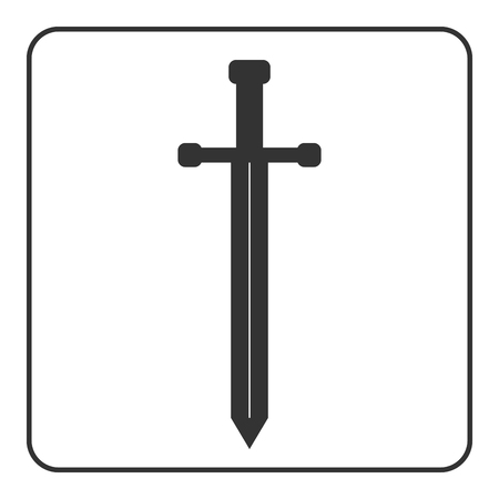 chivalrous: Medieval sharp sword icon. Gray silhouette, isolated on white background. Symbol ancient knight, warrior, weapon and victory, battle, templar. Flat style. Military historic design. Vector illustration Illustration