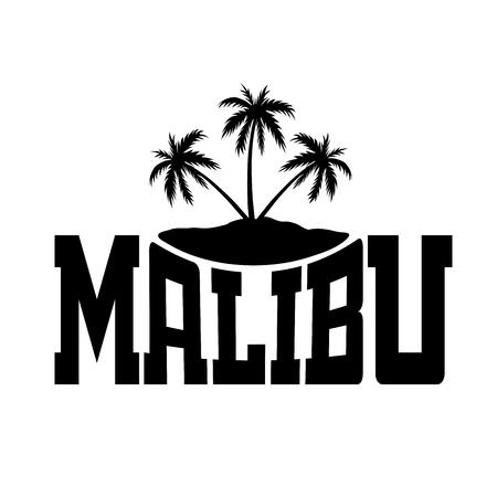 malibu: T shirt typography graphics Malibu Beach California. Summer tropical paradise style. Fashion stylish print sports wear. Template for apparel, card, poster. Symbol of surf, vacation Vector illustration