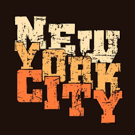 T shirt typography graphics New York. Athletic style NYC. Fashion american stylish print for sports wear. Black grunge emblem. Template for apparel, card, poster. Symbol big city. Vector illustration Ilustracja