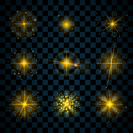 Gold shine stars with glitters, sparkles icons set. Effect twinkle, glare, scintillation element sign, graphic light. Transparent design elements dark background. Varied template. Vector illustration