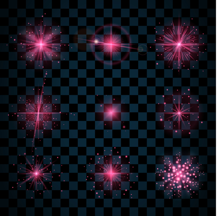 scintillation: Pink shine stars with glitters, sparkles icons set. Effect twinkle, glare, scintillation element sign, graphic light. Transparent design elements dark background. Varied template. Vector illustration Illustration