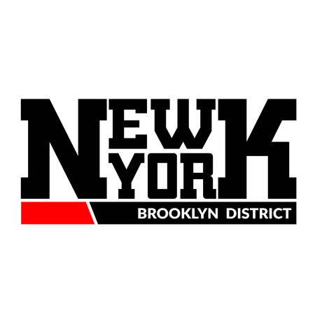 ny: T shirt typography graphics New York. Athletic style NYC. Fashion stylish print for sports wear. Black and white emblem. Template for apparel, card, label, poster. Symbol big city. Vector illustration