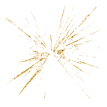 sabotage: Broken glass hole grunge texture gold and white. Sketch abstract to create distressed effect. Overlay distress golden grain design. Stylish modern background for print products. Vector illustration