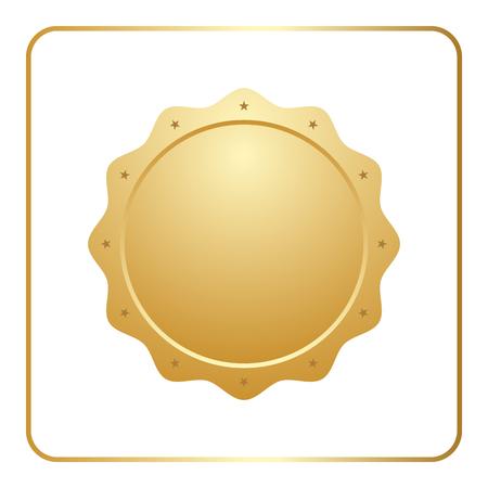 Seal award gold icon. Blank medal with stars isolated on white background. Stamp for design. Golden emblem. Symbol of assurance, winner, guarantee and best label, premium, quality. Vector illustration