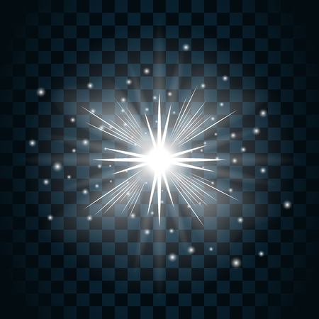 twinkle: Shine star with glitter and sparkle icon. Effect twinkle, glare, glowing, graphic light sign. Transparent glow design element on dark background. Template bright flash decoration. Vector illustration. Illustration