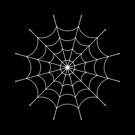 arachnid: Spider web clip. White cobweb element, isolated on black background. Spiderweb silhouette graphic. Symbol of halloween, network, trap and danger, scary, arachnid. Design tattoo. Vector illustration