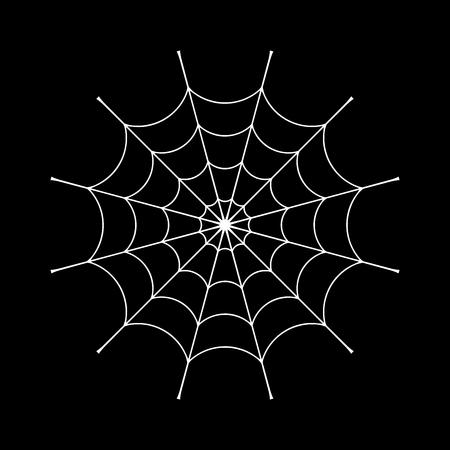 Spider web clip. White cobweb element, isolated on black background. Spiderweb silhouette graphic. Symbol of halloween, network, trap and danger, scary, arachnid. Design tattoo. Vector illustration