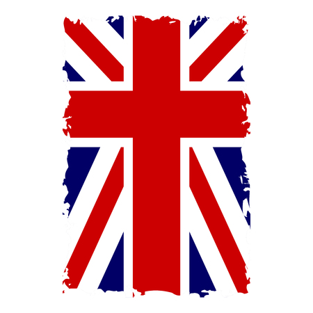 British flag vertical. Grunge old style. Blue, red and white national design, isolated on white background. Symbol of England, Britain, United Kingdom. Fashion template typography. Vector illustration Illustration