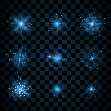 varied: Blue shine stars with glitters, sparkles icons set. Effect twinkle, glare, scintillation element sign, graphic light. Transparent design elements dark background. Varied template. Vector illustration