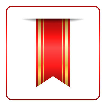 book mark: Red and gold bookmark banner. Vertical book mark, isolated on white background. Color tag, label. Flag symbol, sign. Design element blank. Empty sticker for sale. Template icon. Vector illustration