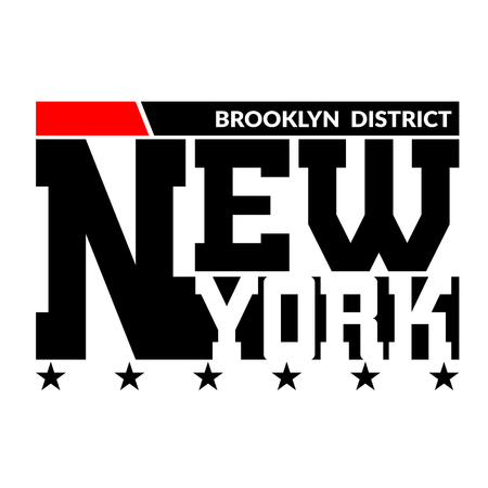 sports team: T shirt typography graphics New York. Athletic style NYC. Fashion stylish print for sports wear. Black white red emblem. Template for apparel, card, label, poster. Symbol big city. Vector illustration