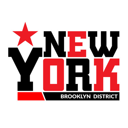 T shirt typography graphics New York. Athletic style NYC. Fashion stylish print for sports wear. Black and white emblem. Template for apparel, card, label, poster. Symbol big city. Vector illustration