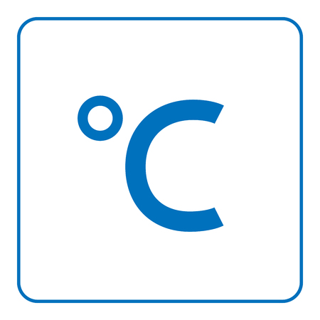 hot temperature: 1 of 25 signs forecast weather. Celsius degree icon. Web blue sign isolated on white background in frame. Symbol hot or cold season, measurement temperature, medicine. Flat style Vector illustration Illustration