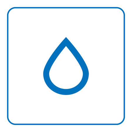 1 of 25 signs forecast weather. Water drop icon. Web cartoon sign, isolated on white background. Symbol of nature, rainy. Meteorology information. Blue silhouette Flat style design Vector illustration Illustration