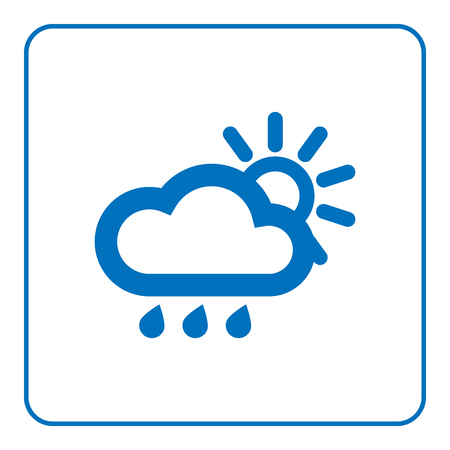 1 of 25 signs forecast weather. Cloud, rain and sun icon. Web cartoon sign, isolated on white background. Symbol nature, sky. Meteorology information. Blue silhouette. Flat design. Vector illustration