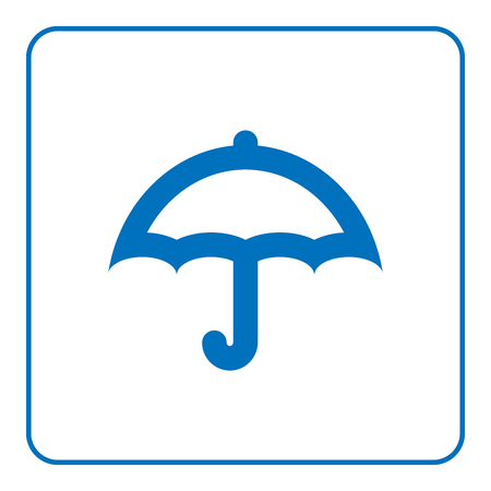 fall fashion: 1 of 25 signs forecast weather element. Umbrella icon. Web cartoon sign, isolated on white background. Symbol rain, summer season. Meteorology information. Flat design silhouette. Vector illustration Illustration