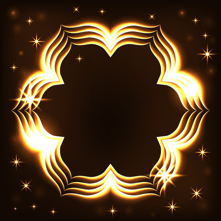 fire flower: Gold frame light tracing effect. Glowing bright magic fire flower. Sparkle swirl trail on black background. Bokeh glitter wavy line with sparkling stars flash lights. Shiny design. Vector illustration Illustration