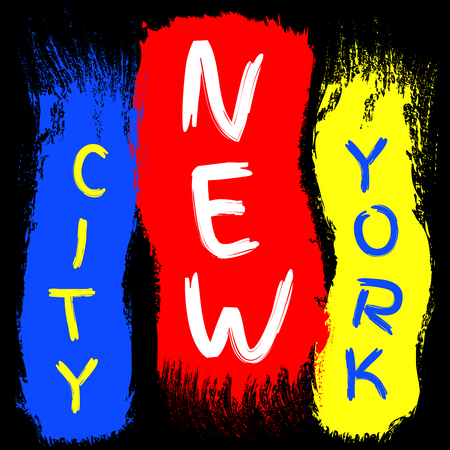 T shirt typography graphics New York. Athletic style NYC. Fashion american stylish print for sports wear. Brush stroke with text. Template apparel, card, poster. Symbol of big city Vector illustration