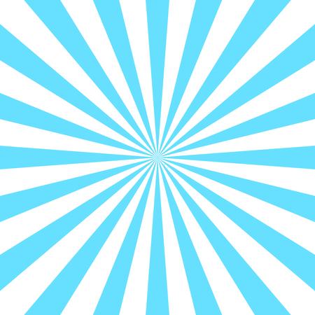 Blue white rays poster. Popular ray star burst background television vintage. Dark-light abstract texture with sunburst, flare, beam. Retro sunbeam art design. Glow bright pattern. Vector Illustration
