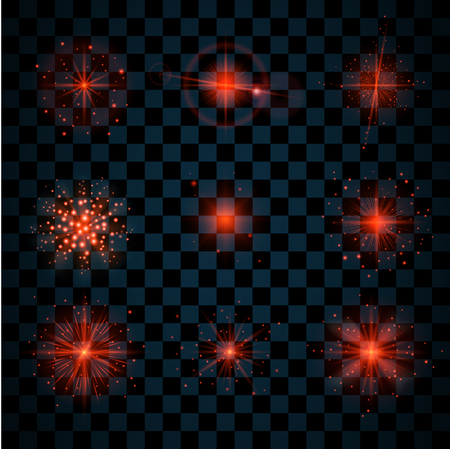 scintillation: Red shine stars with glitters and sparkles icons set. Effect twinkle, glare, scintillation element sign, graphic light. Transparent design elements dark background. Varied template Vector illustration