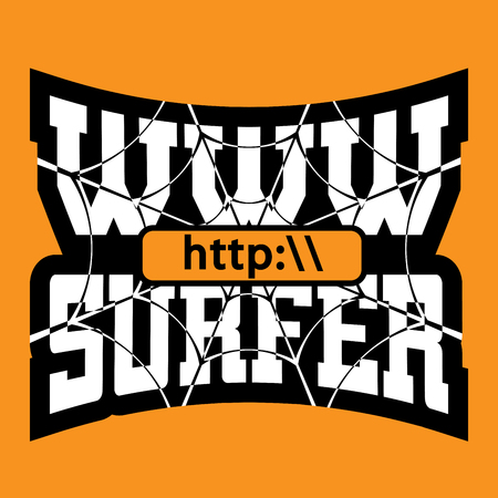 web address: WWW surfer t shirt typography graphics. Grunge mockup with window address Fashion stylish print sports wear. Template for apparel, card, poster. Symbol of web browser internet site Vector illustration