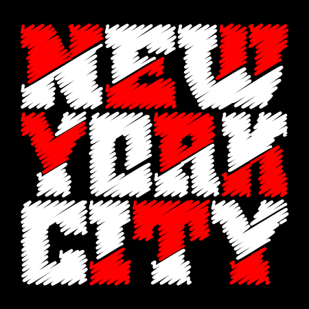 T shirt typography graphics New York. Athletic style NYC. Fashion american stylish print for sports wear. Drawn emblem. Template for apparel, card, poster. Symbol of big city. Vector illustration