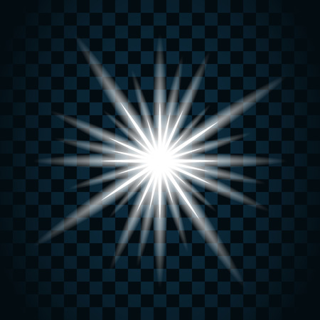 scintillation: Shine star with glitter and sparkle icon. Effect twinkle, glare, scintillation element sign, graphic light. Transparent bright design. Dark background. White template glow, shine. Vector illustration.
