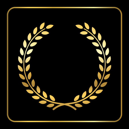 Gold laurel or wheat wreath icon, symbol of victory, achievement and grain, natural food. Golden design element for medals, awards. Silhouette, isolated on black background. Vector illustration Vetores