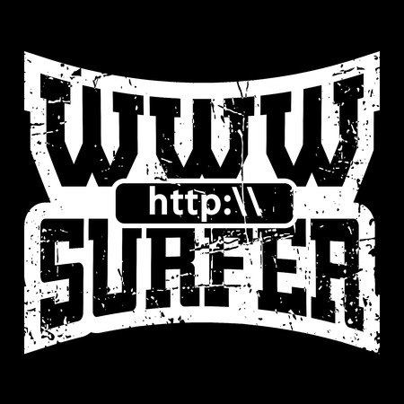 sport wear: WWW internet surfer t shirt typography graphics. Grunge mockup with windows address. Fashion stylish print sport wear. Template for apparel, card, poster. Symbol of web browser. Vector illustration Illustration