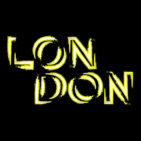 london night: T shirt typography graphics London city. With neon effect. Light urban modern design. Bright glow text. Symbol of England, Britain, United Kingdom. Template apparel, card, poster. Vector illustration