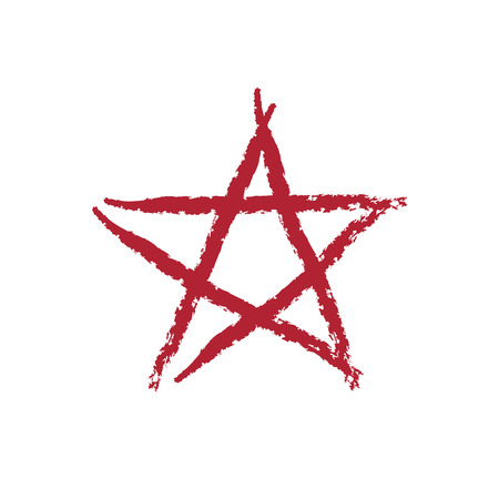 Star icon grunge texture. Vintage retro style. Design element. Red-dirty silhouette, isolated on white background. Grungy artistic template. Distressed symbol. Paint brush image. Vector illustration