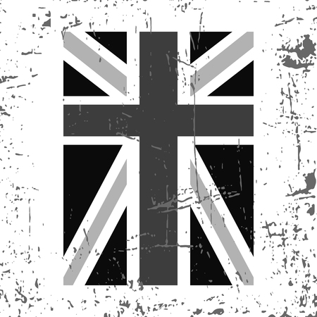 northern light: British flag vertical. Grunge old style. Gray and white design, isolated on white background. Symbol England, Britain, United Kingdom, London. National fashion template typography. Vector illustration Illustration
