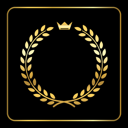 Gold laurel or wheat wreath icon, symbol of victory, achievement and grain, natural food. Golden design element for medals, awards. Silhouette, isolated on black background. Vector illustration Ilustração